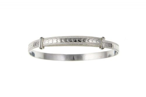 Solid Silver Child's Bangle 7 - 13 Years Heart Design Adjustable 925 Hallmark